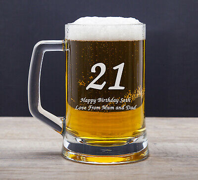 Personalised 18th 21st 30th Birthday Gifts Male Men Boys Engraved Pint Glasses • 9.99£