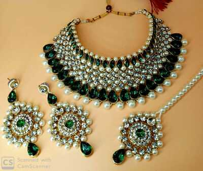 Indian Bollywood Bridal Jewelry Gold Plated Ethnic Pearl Fashion Necklace Set • 24.99$