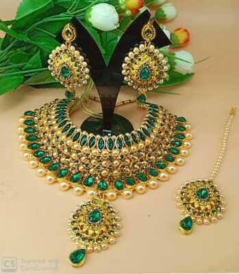 Indian Ethnic Pearl Fashion Gold Plated Bollywood Bridal Jewelry Necklace Set • 26.99$