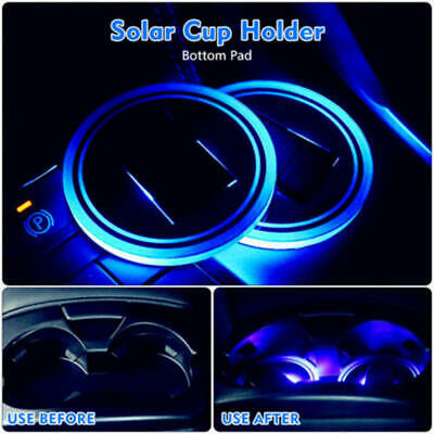 $4.92 • Buy 1PC Solar Cup Pad Car Accessories LED Light Cover Interior Decoration Lights GHY