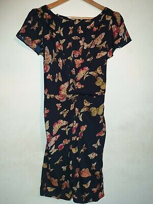 Yumi Floral Dress Size 12 Navy Blue  Fit And Flare Style Feminine Butterfly Chic • 19.99£