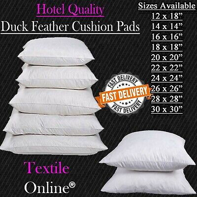 £19.99 • Buy Duck Feather Cushion Pads Inners Inserts Fillers 12  14  16  18  20  22  24  30