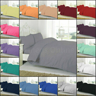 Plain Dyed Duvet Cover Quilt Bedding Set With Pillowcase Single Double King Size • 12.99£