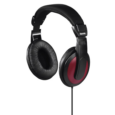 """£11.99 • Buy Hama """"Basic4Music"""" Over Ear Headphones With Extra-long 2m Cable - Black/Red"""