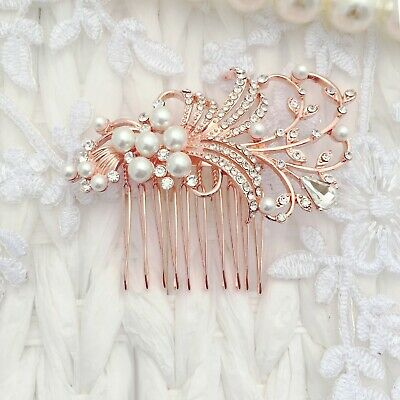 £30 • Buy Bridal Great Gatsby Hair Comb Art Deco Rose Gold Pearl Clear Crystal Gift Boxed