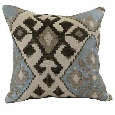 100% Linen Printed Kilim Ikat Cushion. Double Sided. 17x17 . Duck Egg / Natural • 14.99£