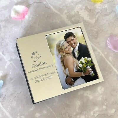 £12.99 • Buy Personalised Golden 50th Wedding Anniversary Photo Frame For Album Gift Idea