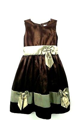 Sugar Plum Little Miss Girl 6X Brown Special Occasion Party Sleeveless Bow Dress • 9.95$