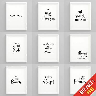 Bedroom Prints Black And White Art Prints For Bedroom Framed Wall Art Quotes • 3.49£
