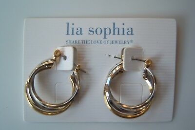 $ CDN20.29 • Buy Lia Sophia Perfect Pair Earrings, Silver And Gold Intertwined Hoops New 7/8