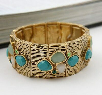 $ CDN21.72 • Buy Lia Sophia MY MIKE Genuine Turquoise &Jade Stretch Bracelet Green Matte Gold NWT