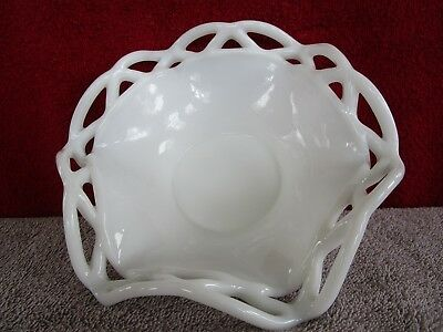 $25 • Buy Laced Edge White Milk Glass Bowl    Maked  G  Underneath  F/S