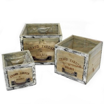 Wooden Boxes Planters Brown Crates Rustic Herbs Garden Set Of 3 Rustic Squares • 15.95£