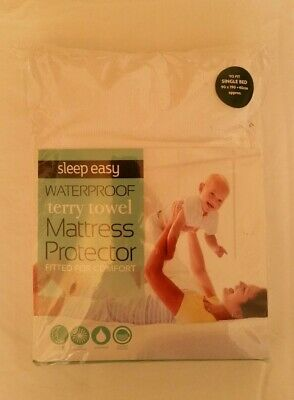 Sleep Easy Waterproof Terry Towel Mattress Protector Fitted Single Bed Cover • 9.99£