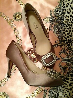 Ladies Natural Taupe Satin Heels Size 3 Uk Classic Court Shoes. • 6£