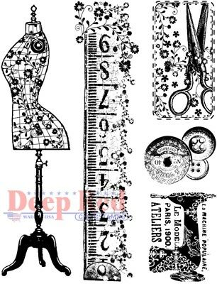 £6.37 • Buy Deep Red Stamps Sewing Kit Rubber Cling Stamp