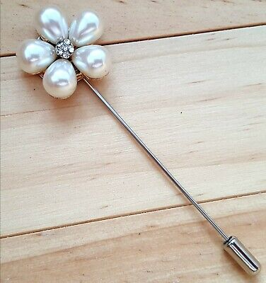 Pearl Flower Lapel Collar Pin Brooch + FREE Gift Bag • 3.49£