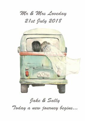 £4.95 • Buy Personalised VW Campervan Camper Print Anniversary Engagement Wedding Gift