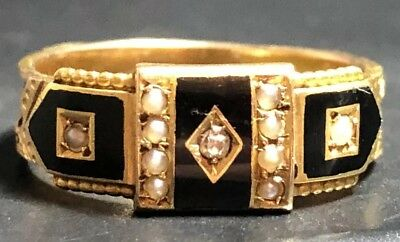£359 • Buy Victorian 15ct Gold Enamel Seed Pearls- Diamond Mourning Ring, Size P,-2.89g