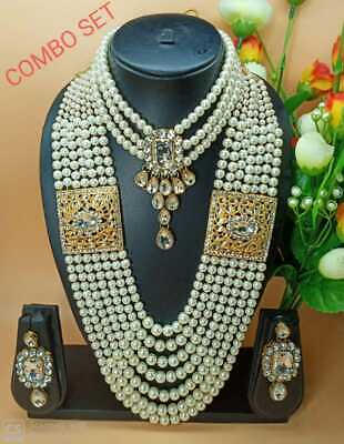 $34.99 • Buy Indian Fashion Pearl Bollywood Bridal Jewelry Gold Plated Ethnic Necklace Set