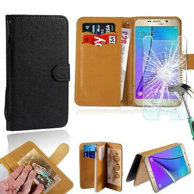 AU7.49 • Buy Leather Wallet Case + Tempered Glass Screen Protector For Samsung Galaxy Phones