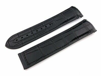 Black Rubber-Leather Strap Band Fit OMEGA Watch 20mm 22mm Buckle Clasp + Pins • 18.50£