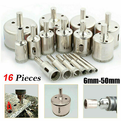 16 Pcs Diamond Holesaw Drill Bit Cutter Tool Set For Tiles Ceramic Marble Glass • 8.89£