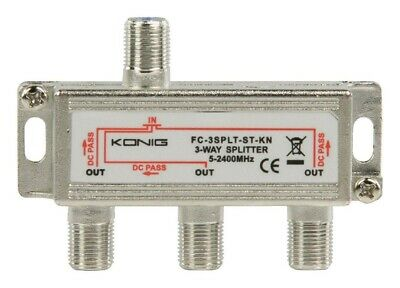 £3.99 • Buy Konig 3 Way F-Splitter 2400Mhz (DC POWER PASS ALL PORTS) For Cable TV Or Aerial