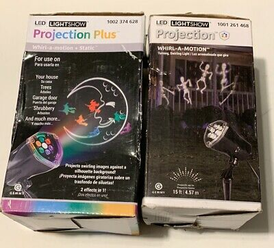 $27.20 • Buy (Lot Of 2) Halloween Light Projection Whirl-a-Motion Skeletons & Moon W/ Witches