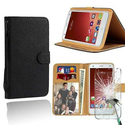 AU7.49 • Buy For ZTE Blade Phones Leather Stand Wallet Case + Tempered Glass Screen Protector