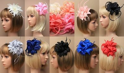 Fascinator Flower & Feather Brooch Clip Wedding Races Occasion Prom Ascot Lot, • 2.49£