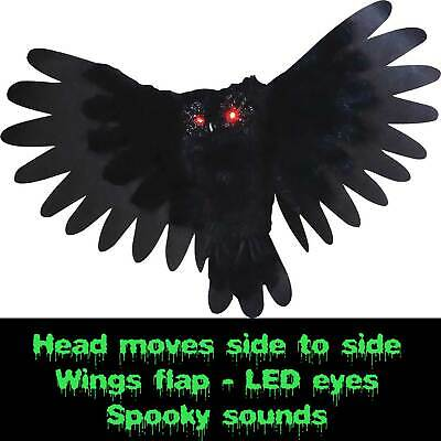 $ CDN43.54 • Buy Spooky Halloween ANIMATED OWL Flapping Wings Haunted House Prop Decor-LED Eyes