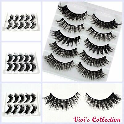 3D Mink Eyelashes False Fake Eye Lashes Long Thick Natural Set 5 Pairs UK 3for2 • 2.99£