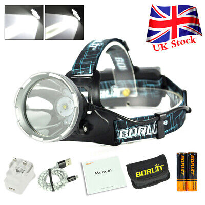 BORUIT 900000LM B10 XM-L2 LED Headlamp Headlight Micro USB Head Torch Waterproof • 19.85£