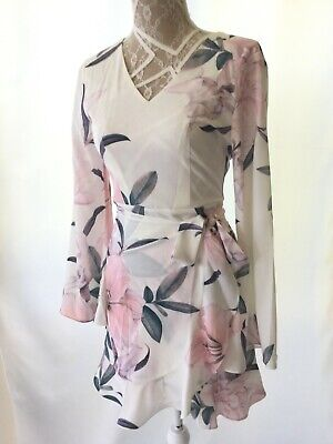 AU24.95 • Buy RRP$69.95 LS White Blush Pink Floral Ladies Knee Length Dress STYLE STATE