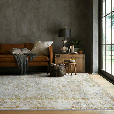 AU109 • Buy Clearance Large Rugs Gold Grey Vintage Distressed Traditional Carpet 2 Sizes