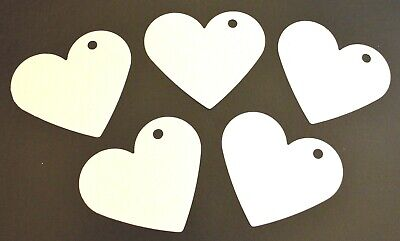 50 Large Card Love Hearts Hanging Decorations Wedding Party White 7.2cm X 6.2cm • 3.99£