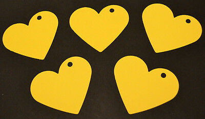 50 Large Card Love Hearts Hanging Decorations Wedding Party Yellow 7.2cm X 6.2cm • 3.99£