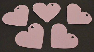50 Large Card Love Hearts Hanging Decorations Wedding Party Lilac 7.2cm X 6.2cm • 3.99£