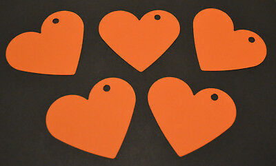 50 Large Card Love Hearts Hanging Decorations Wedding Party Orange 7.2cm X 6.2cm • 3.99£