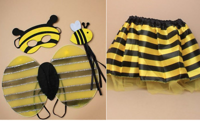 £9.95 • Buy Bumble Bee Fancy Dress Outfit Tutu Wings Mask Costume Party Childrens Girls Lot