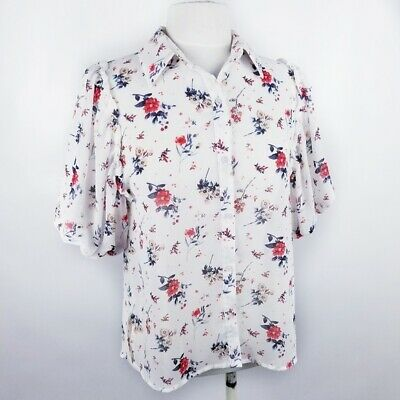 $ CDN30.48 • Buy Anthropologie Maeve Womens Small Short Bubble Sleeve White Floral Button Down