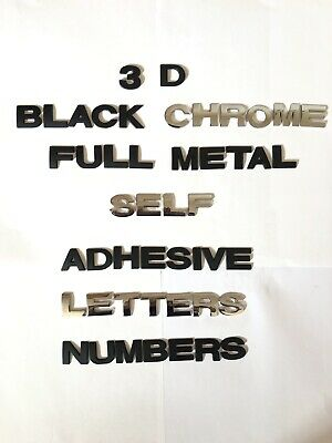Black/Chrome QUALITY Metal 25 MM 3D Self-adhesive Letter Number Badge HOME AUTO • 1.25£