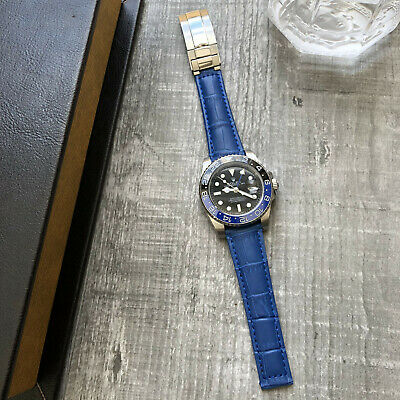 Blue Leather Watch Strap Band 20mm For Rolex Daytona Submariner GMT Datejust • 34.99£