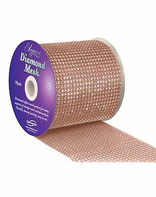 Rose Gold Diamanté Mesh Ribbon Bridal Cake Crafts • 1.99£