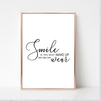 SMILE IS THE BEST MAKEUP Print A4  Picture UNFRAMED Typography Wall Art  • 3.85£