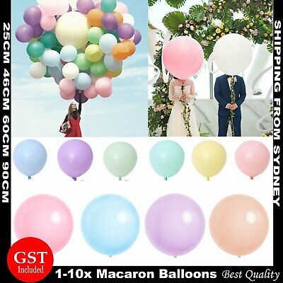 AU2.39 • Buy 25 46 60 90cm Giant Macaron Balloons Birthday Wedding Party Helium Latex Balloon