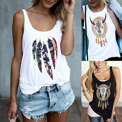 AU13.86 • Buy Womens Sleeveless Tribal Casual Vest Tank Tops T-Shirt Blouse Cami Tee Plus Size