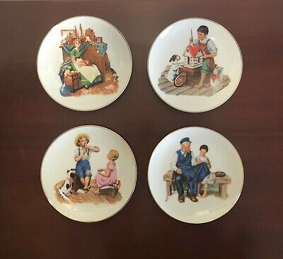 $ CDN44.10 • Buy Norman Rockwell Set Of 4 1984 / 1986 Dishes Plates