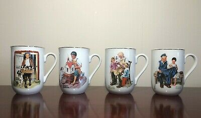 $ CDN33.12 • Buy Norman Rockwell Coffee Cups Mugs Set Of 8 Museum Collection 1982 - 1986
